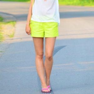 """J. Crew 3"""" Chino Shorts Neon Yellow/Green Size 6"""